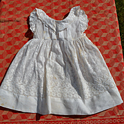 Lattice and Flower Hand Embroidery on Deep Hem, Sleeves, Neck, Dress for Small Child or Large Doll