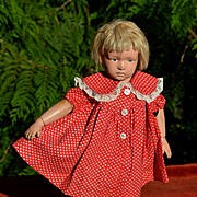 """Vintage Red Calico Cotton Dress or Smock for 16"""" Doll"""