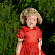 """Sheer Red Waffle Texture Nylon Vintage Dress for 16"""" Dolls"""