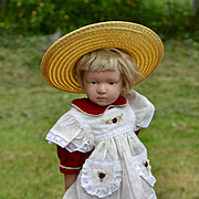 """Vintage Red Dress & Pinafore For a 16"""" Schoenhut Doll"""