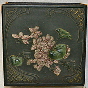 Art Nouveau Candy or Dresser Box, Violets in High Relief on Lid, Lovely Presentation Box for Doll