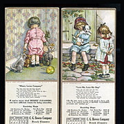 C.M. Burd Art on 1919 Blotters, Pouting Child, Cat, Teddy; Boy & Girl with Puppy
