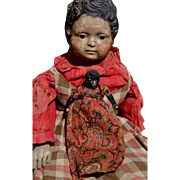 Small Primitive Black Paper Mache / White Bisque Head Topsy Turvy Doll, in Basket, Red Paisley Dress