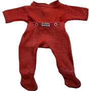 Vintage Red Nitey Nite Footed Pajamas for DyDee, Tiny Tears Baby Dolls