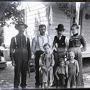 c. 1900 Glass Plate Negative, Farm Children, Rural Family 5 x 7