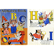 1938 Milo Winter Illustrated Children's ABC Book, Anthropomorphic / Dressed Animals, Cats, Dogs, Rabbits, Birds, All Color
