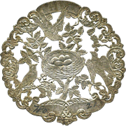 c, 1870's Silver Foil Embossed Fabric Label, Birds & Nest of Eggs