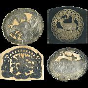 4 c. 1870's Silver Embossed Labels, Deer, Birds Nest, Beaver