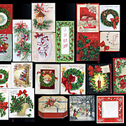 Group of 21 Vintage 1940's-60's Christmas Cards, Holly Berry, Wreath's, Bells, Etc.