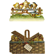 c.1890s Two Advertising Die Cut Trade Cards, Birds on Fence and Chicks in Basket, As Is