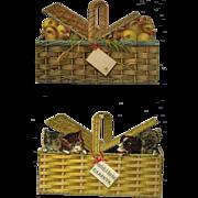 c.1890's Two Victorian Die Cuts, Puppies & Kittens in Basket, Chicken Biddies As Is