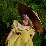 """3 Pc. Vintage Dress, Yellow Organdy Pinafore and Wide Brim Straw Hat for 16""""-18"""" Dolls like Hard Plastic, Schoenhut"""
