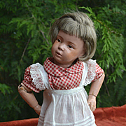 """Vintage Red Check  Dress & Pinafore, Plus Replacement Socks & Shoes for 16"""" Dolls, Schoenhut, Hard Plastic"""