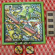 c.1940's Peter Rabbit Game Board, Metal Rabbit Game Pieces, Partial Set, As Is