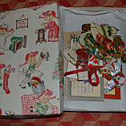 Box of 50 Vintage 1930s-50's Christmas Gift Tags, Cards Used