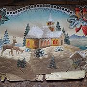 Large Pressed Paper Embossed Die  Cut Christmas Scene, Damage, As Is
