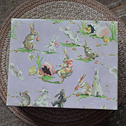 Vintage Easter Candy Box, Lovely Rabbits on Lavender Paper, Exc. Cond.