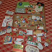 Collection of about 60 Vintage Christmas Stickers, Gift Tags, c.1930's Used