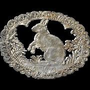c.1870's Silver Foil Die Cut RABBIT Fabric Label