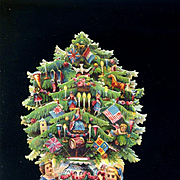 c. 1870's Layered Die Cut Christmas Tree Decorated with Toys, Pull Down Tabs