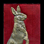 Embossed Dresden Standing Bunny Rabbit on Red Silk Fabric