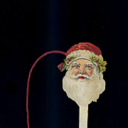 Vintage Dennison Die Cut Paper Santa Head Decoration
