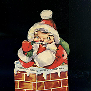 c.1950s Vintage Die Cut Mechanica Santa in Chimney, Toys, Christmas Card