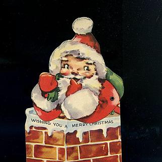 c.1950s Vintage Die Cut Mechanica Santa in Chimney, Toys, Christmas Card