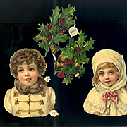 Winter Boy & Girl H & S, Holly Berry Victorian Die Cuts