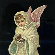 Large Die Cut  Victorian Snow Angel with Birds Nest