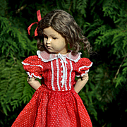 "Vintage Red Semi-Sheer Cotton Dress, Puff Sleeves, Lace Trim for 18-20"" Dolls, Composition, Hard Plastic, Schoenhut"