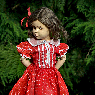 """Vintage Red Semi-Sheer Cotton Dress, Puff Sleeves, Lace Trim for 18-20"""" Dolls, Composition, Hard Plastic, Schoenhut"""