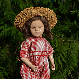 """Vintage Red & White Woven Check Romper, Red Trim for 18""""-20"""" Dolls"""
