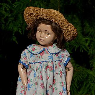 """Bluebirds & Pink Roses, Blue Trim, Vintage Feedsack Doll Dress, for 20-22"""""""