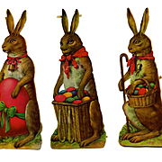 "3 Large 8-1/2"" Easter Rabbit Victorian Die Cuts"