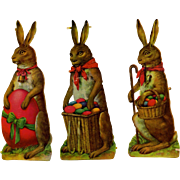 """3 Large 8-1/2"""" Easter Rabbit Victorian Die Cuts"""