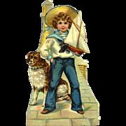 """Sailor Boy & Dog 8"""" Victorian Die Cut"""