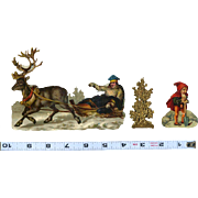 Victorian Die Cuts, Reindeer Pulls Man in Sled, Gold Embossed Tree, Gnome with Shovel