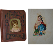"1879 Miniature Scrapbook ""Peep Show Album"" 5 x 6, Die Cuts with Children, Dolls, Fantasy, Cats, Dogs"