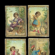 4 Small Early Chromolithograph Pictures of Children, Embossed Gold Edges, Use in Trunks, Doll Houses 3 x 2