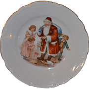 Early 1900 Santa Claus, Toys, Children, Cat, Child's Christmas Plate, Germany Porcelain