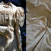 Antique Wedding Dress, Silk Satin Overlaid with Sheer Silk, Ruching, Bows, Exc for Doll Costumers