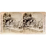 1900 Magnificent Paris Exposition German Toy Christmas Display, Stereoview Photo