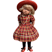16 in. Pouty Schoenhut 403 in Vintage Red Plaid Dress, Shoes, Straw Hat