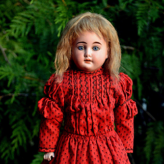 17 in. Cuno Otto Dressel Has Uncommonly Pretty Face, Shocking Blue Eyes, Red & Black Wool Dress
