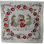 Victorian Girls Playing, Red & Green Flower Border, Printed on Cloth Textile / Napkin