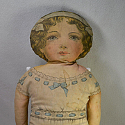 "24"" Rose Marie, Pat. 1900 Lithographed Cloth Doll, Printed Clothing, Sweet Face"