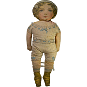 """24"""" Rose Marie, Pat. 1900 Lithographed Cloth Doll, Printed Clothing, Sweet Face"""