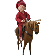 """Vintage Wood & Felt Horse, Fits Up To 16"""" Doll Rider"""