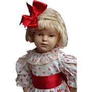 """19"""" Schoenhut 308, A Sweetheart in Red &  White Party Dress, Red Straw Hat, Candy Box and Shoes"""
